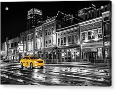 Acrylic Print featuring the photograph Yellow Taxi Cab On Lower Broadway - Nashville Tennessee by Gregory Ballos
