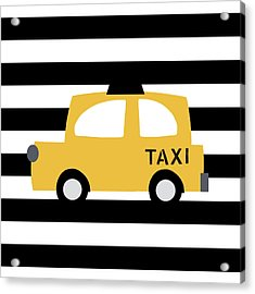 Yellow Taxi With Stripes- Art By Linda Woods Acrylic Print