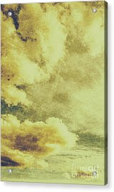 Yellow Toned Textured Grungy Cloudscape Acrylic Print by Jorgo Photography - Wall Art Gallery