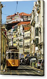 Yellow Tram In Downtown Lisbon, Portugal Acrylic Print