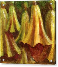 Yellow Trumpet Flowers Acrylic Print by Patricia Halstead