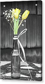 Yellow Tulips In Glass Bottle Acrylic Print by Terry DeLuco