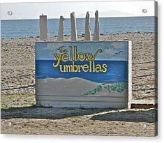 Yellow Umbrellas Acrylic Print by Liz Vernand