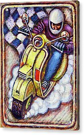 Yellow Vespa Acrylic Print by Mark Howard Jones