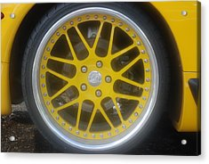 Yellow Vette Wheel Acrylic Print by Rob Hans