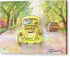 Yellow Vw Acrylic Print by Ron Wilson