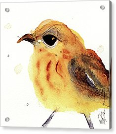 Acrylic Print featuring the painting Yellow Warbler by Dawn Derman