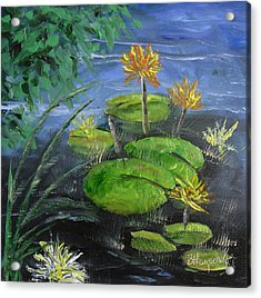 Yellow Water Lilies Acrylic Print by Barbara Harper