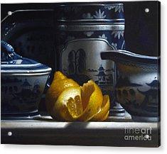 Yellow White Blue Acrylic Print by Larry Preston