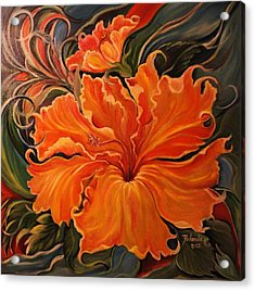 Acrylic Print featuring the painting Yellow Wild Hibiscus by Yolanda Rodriguez