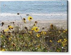 Yellow Wildflowers- Art By Linda Woods Acrylic Print by Linda Woods