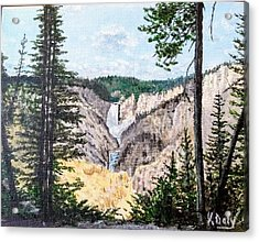 Acrylic Print featuring the painting Yellowstone Falls by Kevin Daly