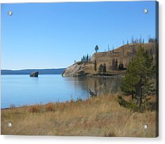 Acrylic Print featuring the digital art Yellowstone Lake Se by Gary Baird