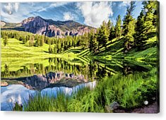 Acrylic Print featuring the painting Yellowstone National Park Trout Lake by Christopher Arndt