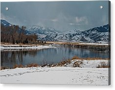 Yellowstone River In Light Snow Acrylic Print