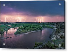 Yellowstone River Lightning Acrylic Print by Leland D Howard
