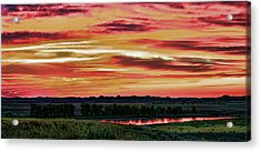 Yellowstone River Wildfire Sunset Acrylic Print