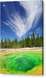 Acrylic Print featuring the photograph Yellowstone's Morning Glory Pool Pool And Awesome Clouds by Bruce Gourley