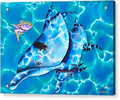 Yellowtail Snapper And  Dolphins Acrylic Print by Daniel Jean-Baptiste