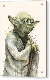 Yoda Portrait Acrylic Print by Olga Shvartsur