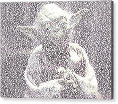 Yoda Quotes Mosaic Acrylic Print by Paul Van Scott