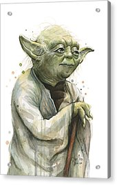 Yoda Watercolor Acrylic Print