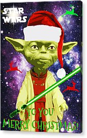 Yoda Wishes To You Merry Christmas Acrylic Print