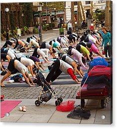 Yoga At Bryant Park Acrylic Print by Luis Lugo
