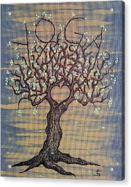 Acrylic Print featuring the drawing Yoga Love Tree by Aaron Bombalicki