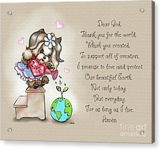 Yorkie Earth Day Prayer Acrylic Print by Catia Cho