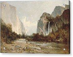 Yosemite Bridal Veil Falls Acrylic Print by Thomas Hill