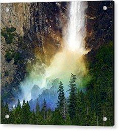 Yosemite Bridalveil Fall Rainbow Acrylic Print by Jeff Lowe