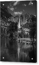 Yosemite Falls From Swinging Bridge In Black And White Acrylic Print