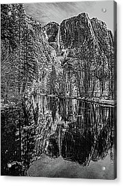 Yosemite Falls From The Swinging Bridge In Black And White Acrylic Print by Bill Gallagher