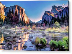 Acrylic Print featuring the painting Yosemite National Park Valley by Christopher Arndt