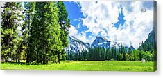 Yosemite Valley And Half Dome Digital Painting Acrylic Print