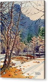 Yosemite Valley In Winter Acrylic Print by Donald Maier