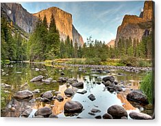 Yosemite Valley Reflected In Merced River Acrylic Print by Ben Neumann