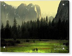 Yosemite Village Golden Acrylic Print by Wingsdomain Art and Photography