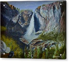Acrylic Print featuring the painting Yosemite Waterfall by Quwatha Valentine