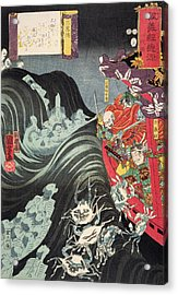 Yoshitsune With Benkei And Other Retainers In Their Ship Beset By The Ghosts Of Taira Acrylic Print