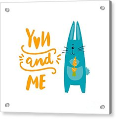Acrylic Print featuring the digital art You And Me Bunny Rabbit by Edward Fielding