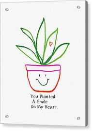Acrylic Print featuring the mixed media You Planted A Smile- Art By Linda Woods by Linda Woods