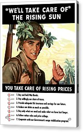 You Take Care Of Rising Prices Acrylic Print