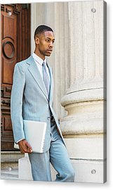 Young African American Businessman Working In New York Acrylic Print