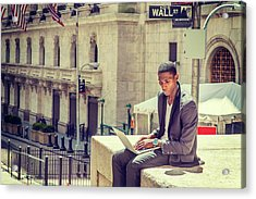 Young African American Man Working On Wall Street In New York Acrylic Print