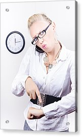 Young Angry Caucasian Woman Talking On Telephone Acrylic Print