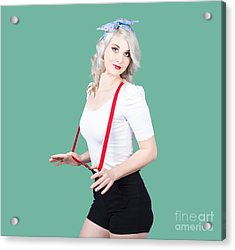 Young Beautiful Caucasian Woman In Retro Styling Acrylic Print by Jorgo Photography - Wall Art Gallery