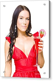 Young Beautiful Party Girl Holding Cocktail Acrylic Print by Jorgo Photography - Wall Art Gallery