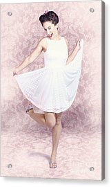 Young Beautiful Pinup Woman Dancing In Retro Dress Acrylic Print by Jorgo Photography - Wall Art Gallery